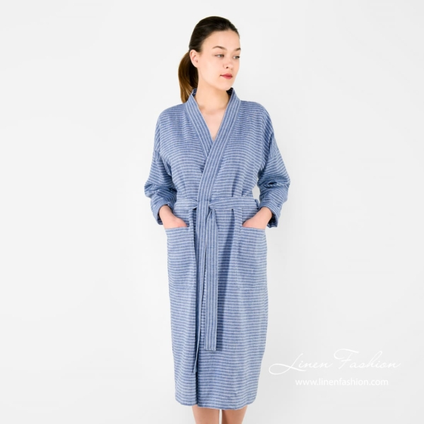 MARY blue striped linen women's robe