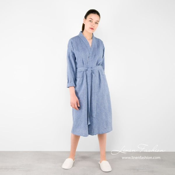 Linen womens bathrobe in blue color.