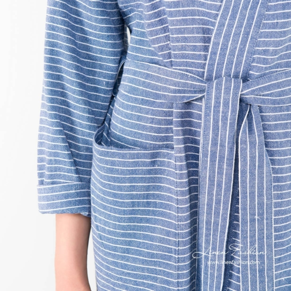 Linen womens robe in blue with a belt