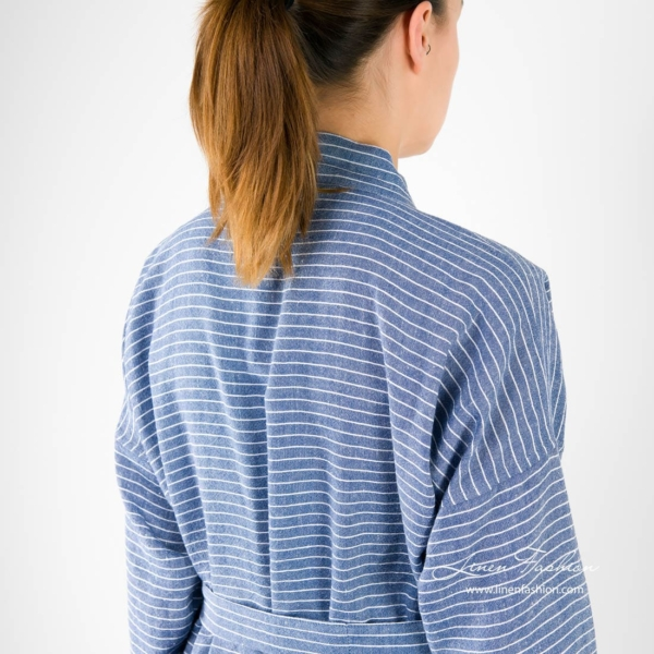 Linen womens bathrobe in blue with stripes.