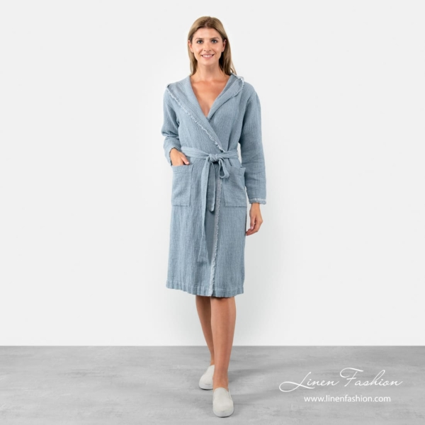 Linen-cotton womens bathrobe with fringes in blue color.