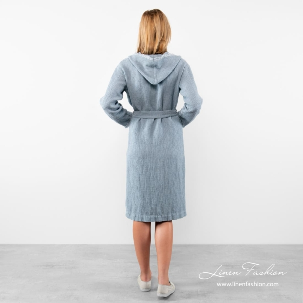 Blue colored bathrobe with fringes for women, linen-cotton.