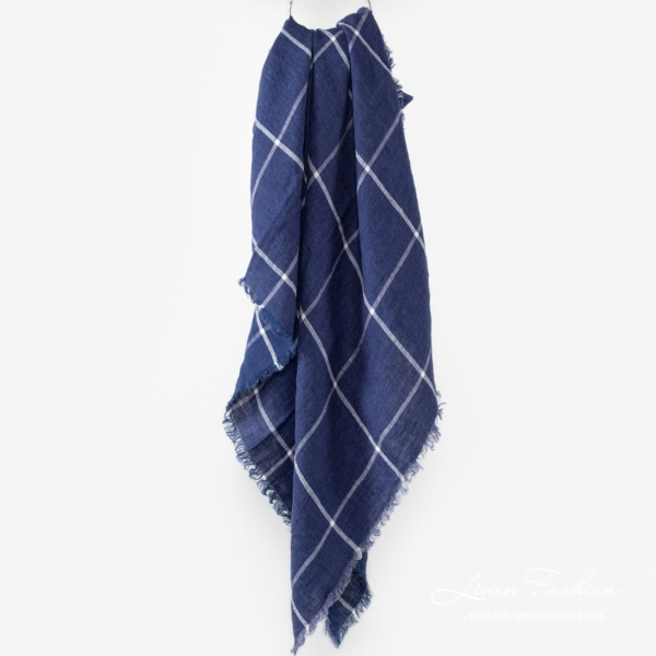 Blue colored linen scarf, checkered.