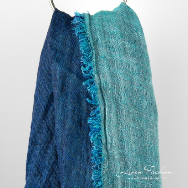 Double-sided blue linen scarf.