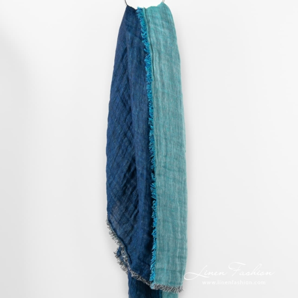 Linen scarf in blue, double-sided.