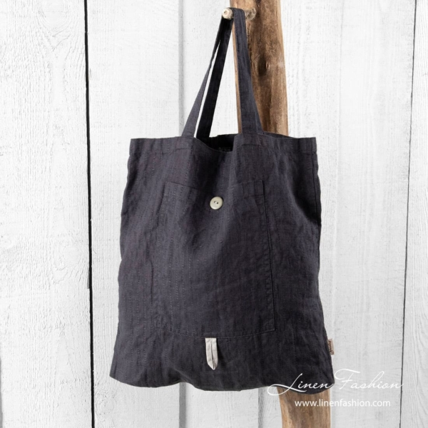 Dark grey linen tote bag, saga.