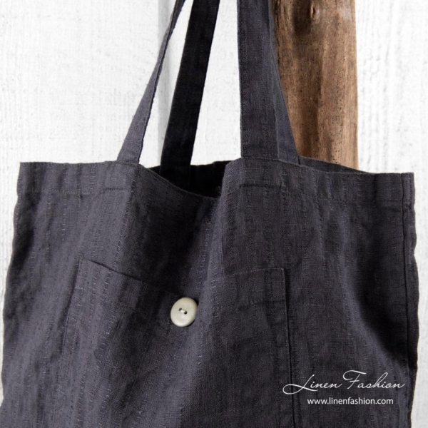 100% linen tote bag in dark grey.