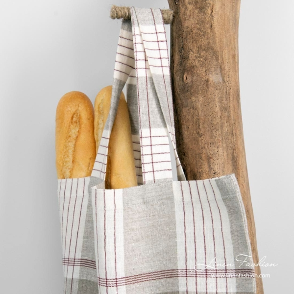 100% linen shopper bag in red and grey checks.