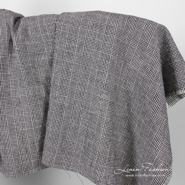 Linen wool glen check fabric, washed