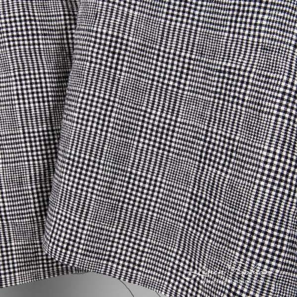 Washed linen wool fabric in black white checks