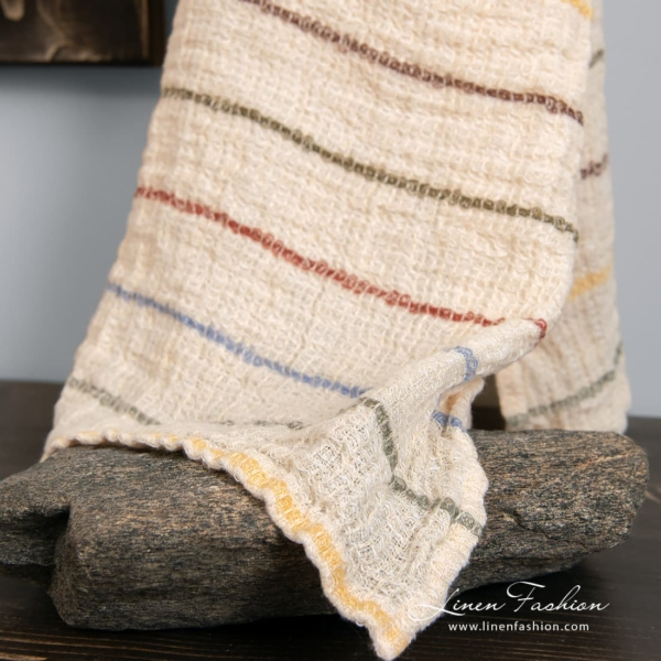 Pure linen yellowish towel with stripes