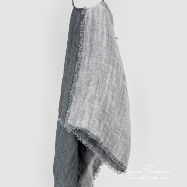 Double sided grey and off white linen scarf
