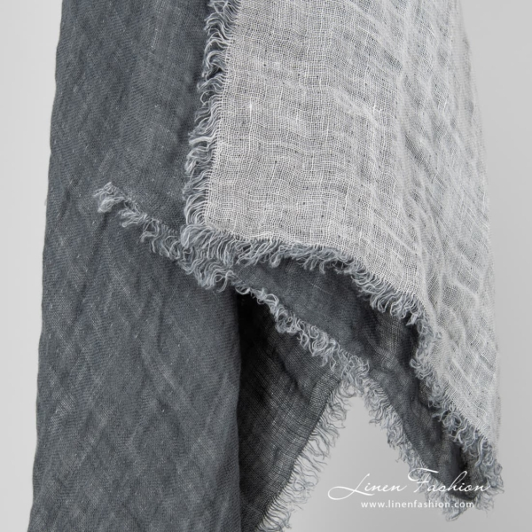 Double sided grey linen scarf with fringes