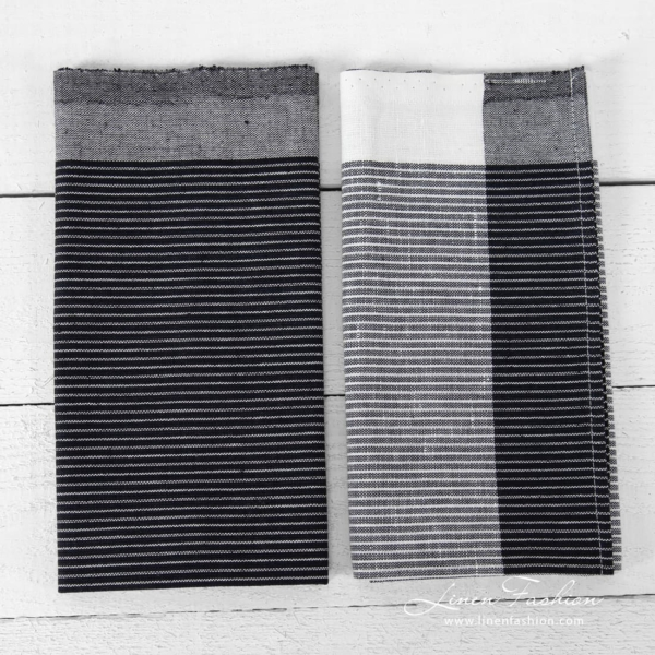 Linen cotton striped kitchen towels black and white