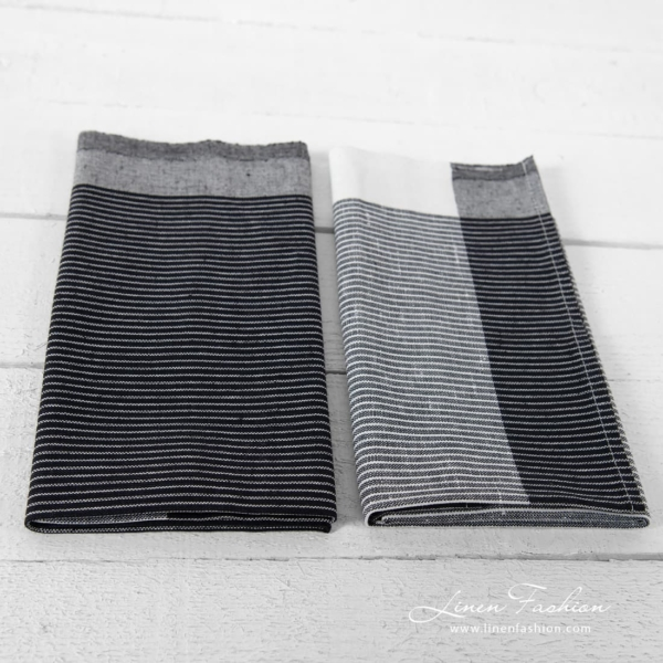 Black and white striped linen blend tea towels